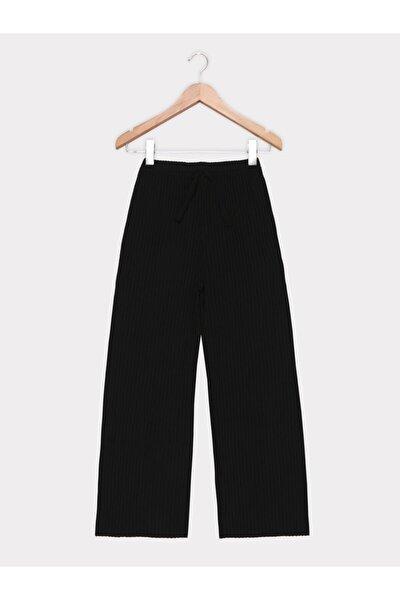 Kadın Siyah Beli Lastikli Fitilli Pantolon