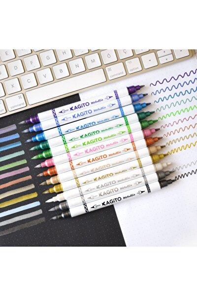 Metalik Çift Uçlu Brush Pen Seti 12li