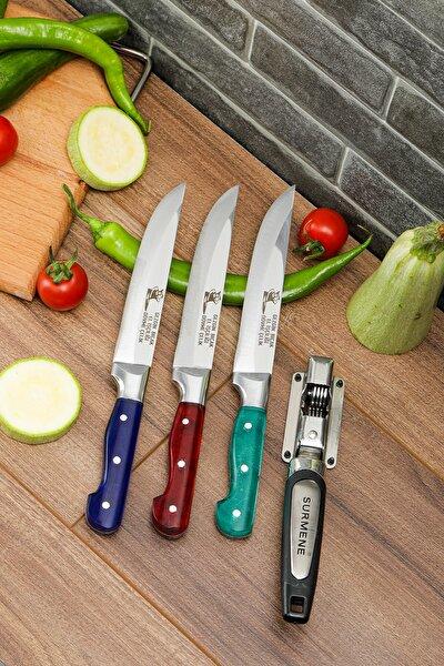 Premium Paslanmaz Çelik 3'lü Mutfak Bıçağı Ve Hediye Bileyici Seti