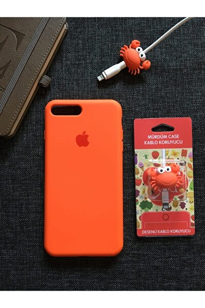 Iphone 7 Plus Ve 8 Plus'a Uyumlu, Logolu Lansman Kılıf Kablo Koruyucu
