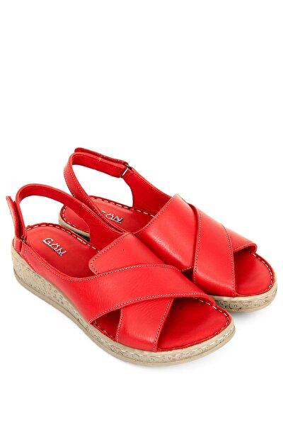 Hakiki Deri Kırmızı Antik Kadın Sandalet 45836