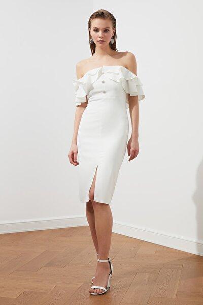 Ekru Taş Düğmeli Elbise TPRSS21EL1403