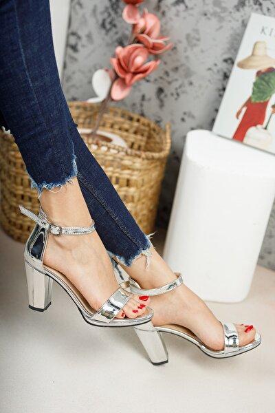 Kadın, Gümüş Ayna ,tek Bantlı,klasik Topuklu Platform Ayakkabı