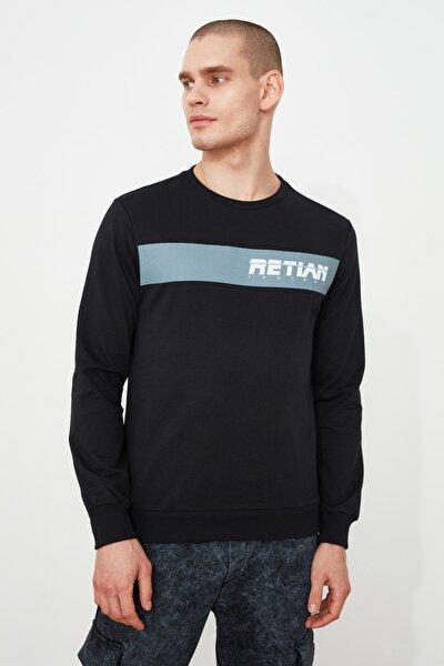 Siyah Erkek Baskılı Sweatshirt TMNAW21SW0464