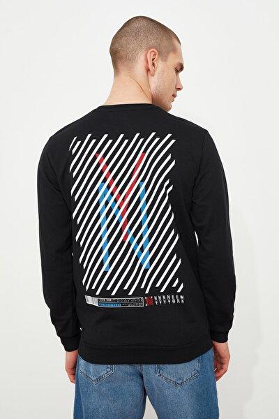Siyah Erkek Sırt Baskılı Bisiklet Yaka Regular Sweatshirt TMNAW21SW0516