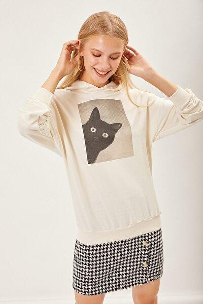Kedi Baskılı Sweatshirt