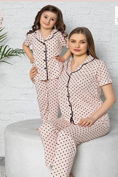 Kadın Pudra Kalp Desenli Anne Kız Kombin Pijama Takımı