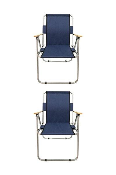 Kamp Sandalyesi 2 Adet Ahşap Kollu Katlanabilir Kamp Sandalyesi - Lacivert