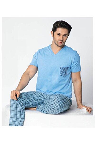 Erkek Açık Mavi Kısa Kollu Yazlık Üç Düğmeli Pijama