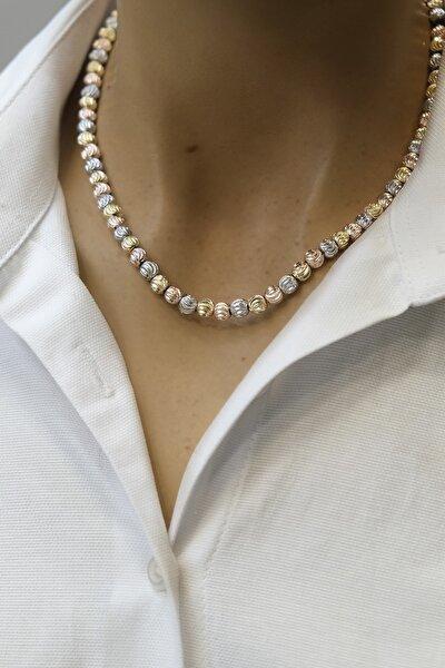 Kadın Dorika Taşlı Altın&rose&gümüş Renkli Kolye
