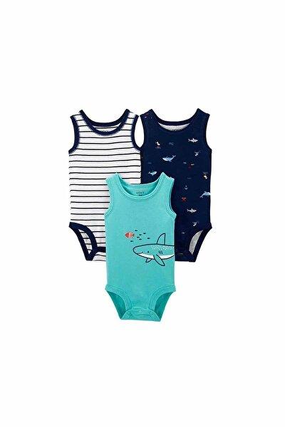 Erkek Bebek Mavi 3'lü Balina Desenli Body Seti