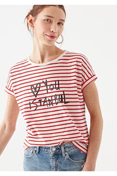 Love You Baskılı Çizgili Istanbul Tişört