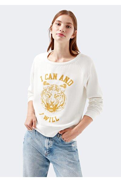 Kadın Beyaz Kaplan Baskılı Sweatshirt