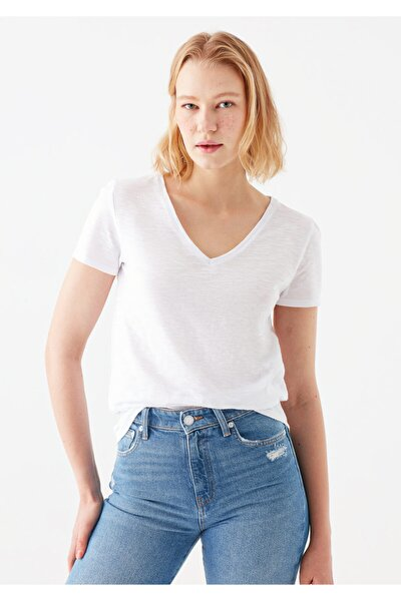 V Yaka Beyaz Basic Tişört