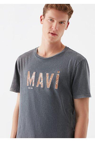 Logo Baskılı Gri Tişört