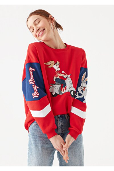 Kadın Kırmızı Bugs Bunny Baskılı Sweatshirt