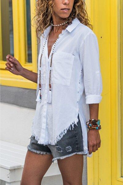 Kadın Beyaz Keten Dokulu Yanı Düğmeli Eteği Püsküllü Gömlek Lale001