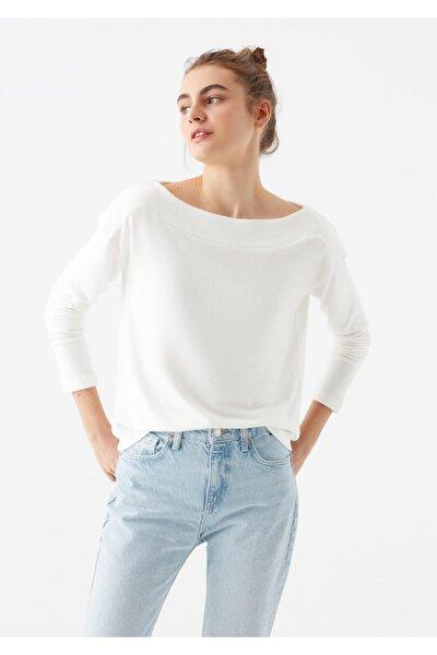 Kadın Yumuşak Dokulu Uzun Kollu Beyaz Tişört 1600573-33389