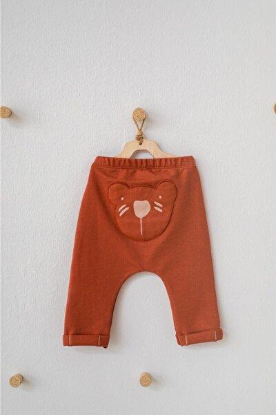 Unisex Bebek Tarçın Ayıcıklı Organik Pantolon