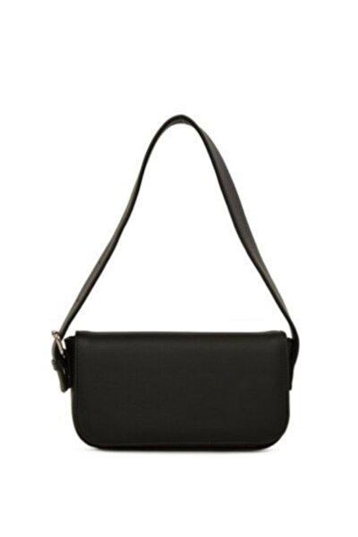 Kadın Siyah Kapaklı Baget Çanta