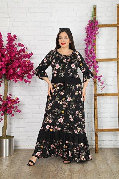 Kadın Büyük Beden Likralı Renkli Çiçekli Elbise