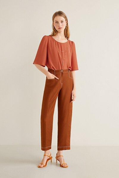 Kadın Kızıl Kahverengi Yakalı Bluz 43085784
