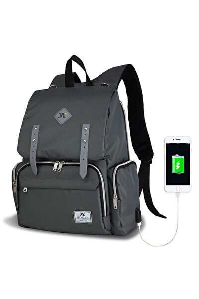 Unisex Gri Smart Bag Mother Star USB'li Anne Bebek Bakım Çantası