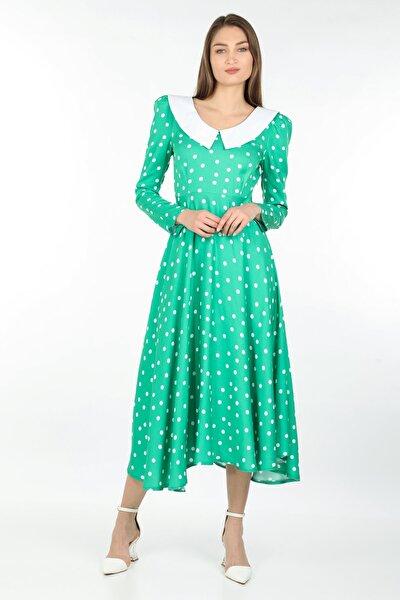 Kadın Yeşil Yaka Detaylı Puantiyeli Uzun Elbise