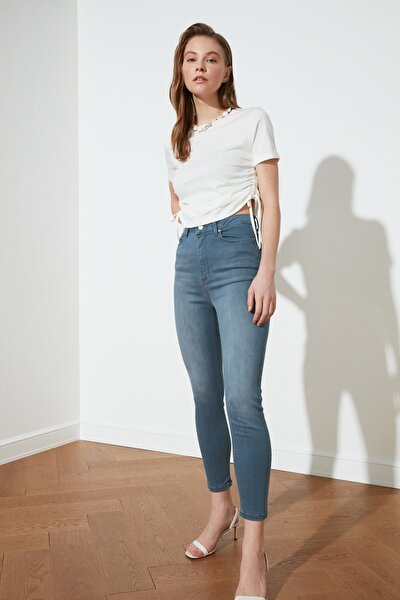 Gri Mavi İncelten Etki Yüksek Bel Skinny Jeans TWOSS21JE0471