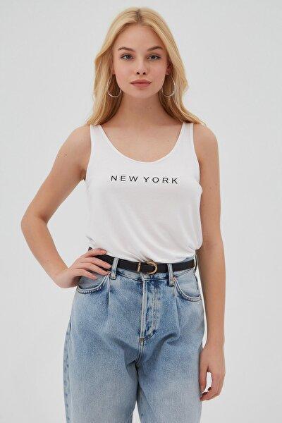Kadın Beyaz Baskılı Askılı T-Shirt
