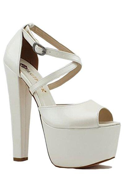 Kadın Beyaz 16,5 cm Topuklu Çapraz Bant Platform Ayakkabı