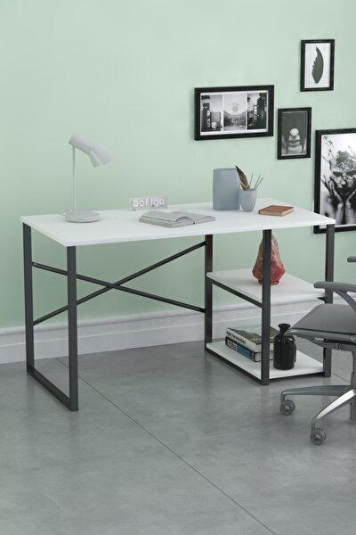 60x120 Cm 2 Raflı Çalışma Masası Bilgisayar Masası Ofis Ders Yemek Masası Beyaz