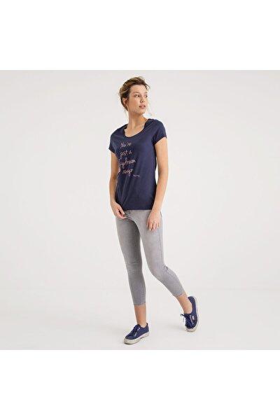 Kadın Baskılı T-shirt Lacivert