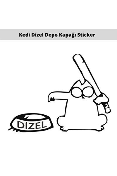 Kedi Sopalı Depo Kapağı Oto Sticker (dizel)
