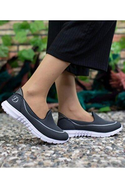 Kadın Koyu Gri Ortopedik Spor Ayakkabı