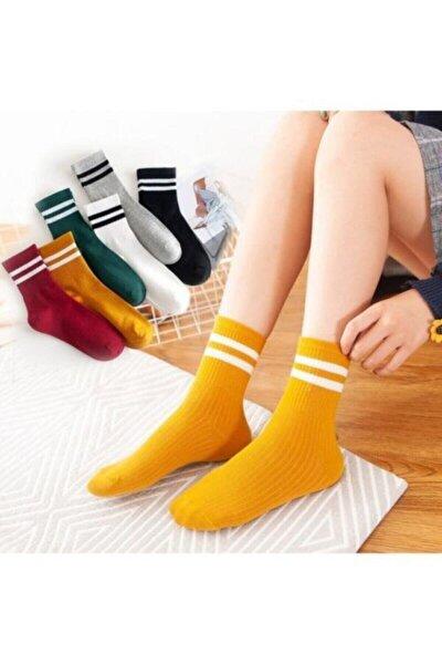 Kadın 6' Lı Karışık Renkli Çizgili Tenis Çorabı