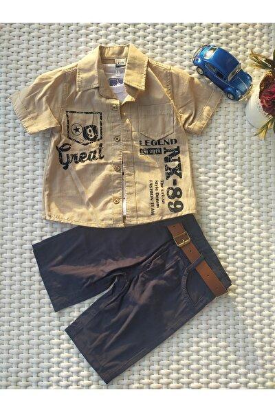 Bej Gömlek Lacivert Pantolon Sweat Takım