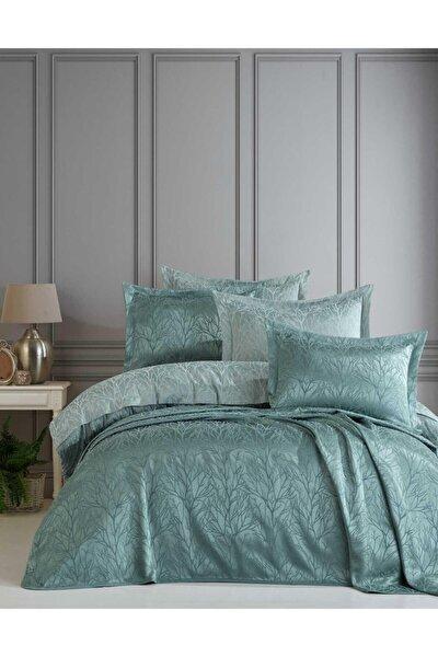 Yatak Örtüsü Takımı Çift Kişilik Jakar Şönil Kumaş Mucize Yeşil