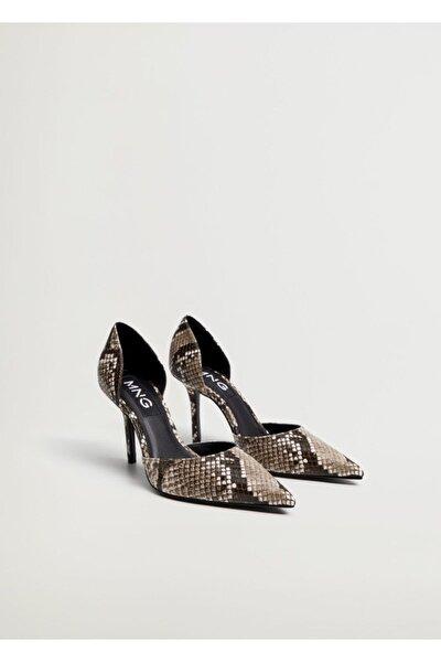 Kadın Kahverengi Yılan Derisi Desenli Topuklu Ayakkabı