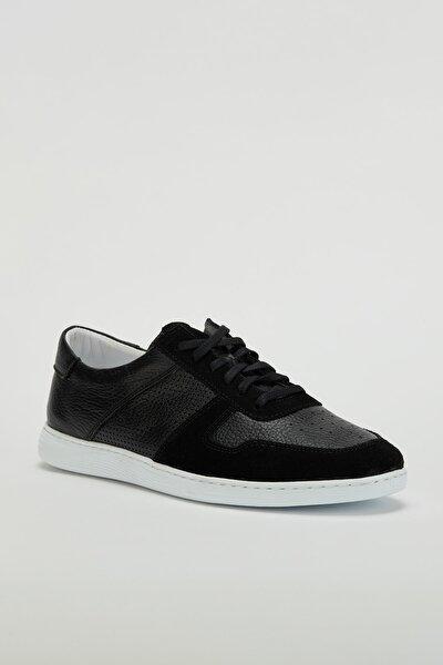 Erkek Siyah Hakiki Deri Sneaker Ayakkabı Mgversay04