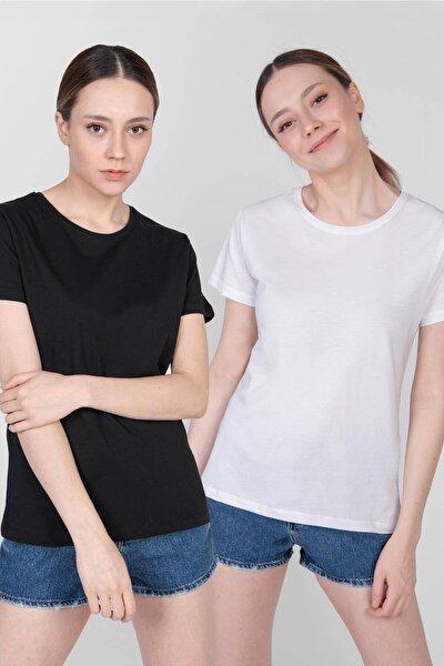 Kadın Siyah Beyaz Ikili Bisiklet Yaka Basic T-Shirt P0371 - I6 Adx-0000022260