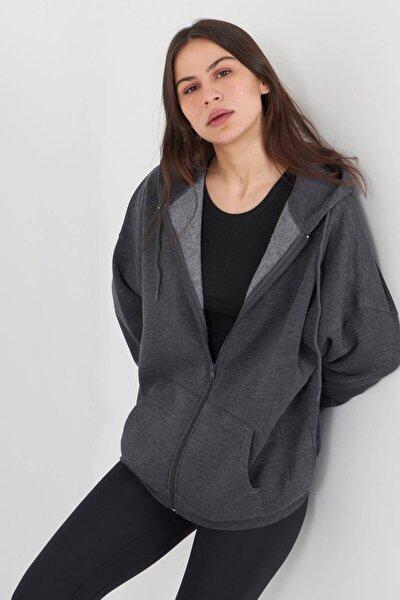 Kadın Antrasit Kapüşonlu Uzun Hırka H0725 - W6W7 Adx-0000020316