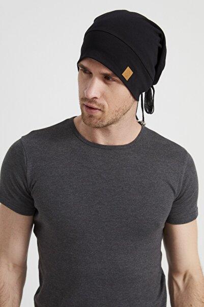 Erkek Siyah, Ip Detaylı Özel Tasarım 4 Mevsim Şapka Bere Buff -ultra Yumuşak Doğal Penye Kumaş
