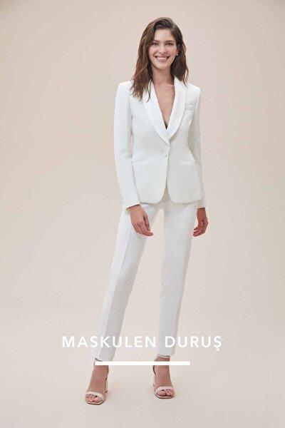 Beyaz Dar Kesim Takım Elbise Gelinlik Pantolonu