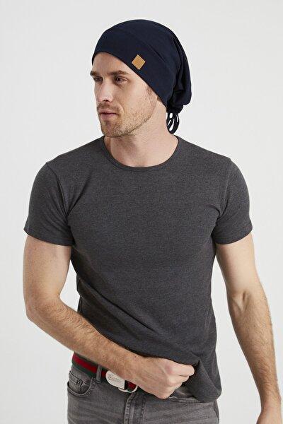 Erkek Lacivert, Ip Detaylı Özel Tasarım 4 Mevsim Şapka Bere Buff -ultra Yumuşak Doğal Penye Kumaş