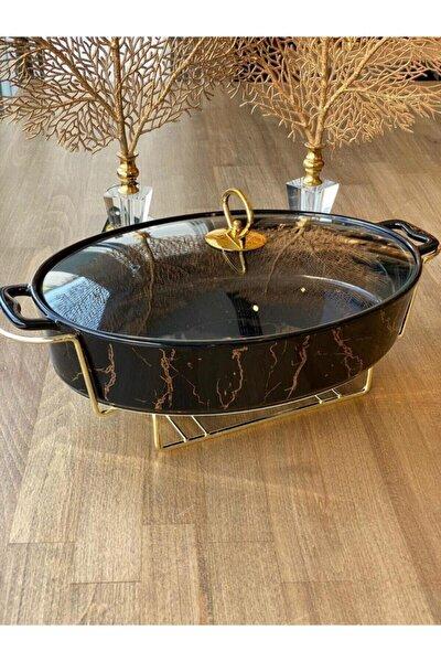 Isıtıcılı Servis Fırın Kabı Oval 40 Cm Siyah