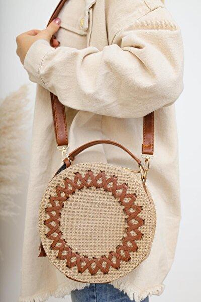 Kadın Kahverengi Desenli Hasır Omuz Çantası