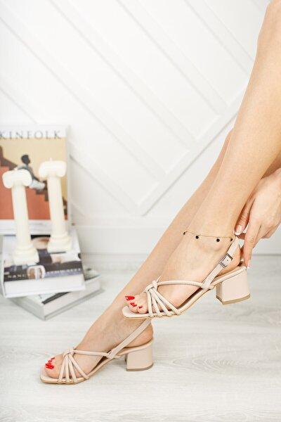 Kadın Nili Vizon Kısa Topuklu Biyeli Ayakkabı