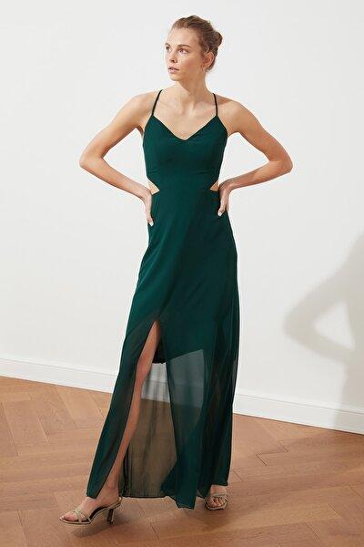 Yeşil Yırtmaç Detaylı Elbise TWOSS20EL1270