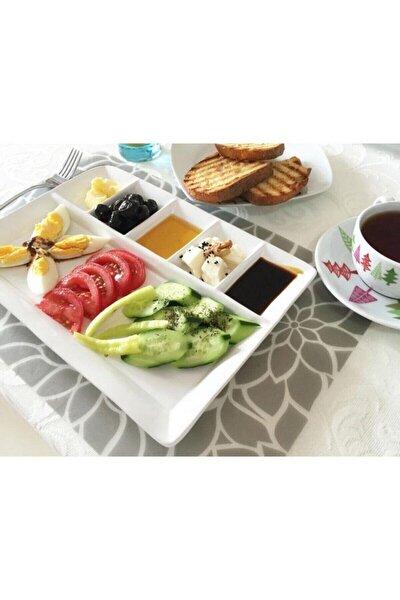 Seramik 6 Bölmeli Lux Kahvaltı Tabağı Tabldot 22x32 cm